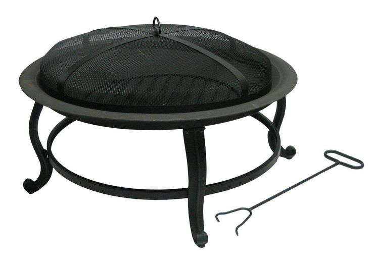 Outdoor Deckmate Fire Pit Wood Burner Cast Iron Bottom with Tool Patio Deck
