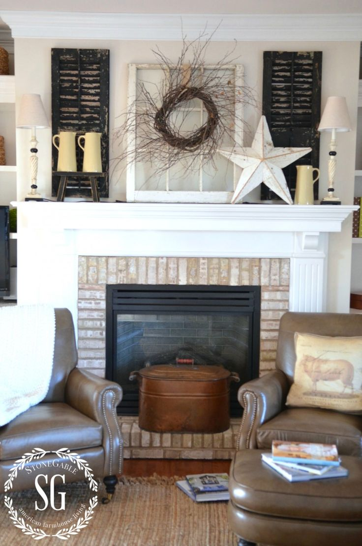 SIMPLE FARMHOUSE STYLE- Winter Mantel-full shot-stonegableblog.com