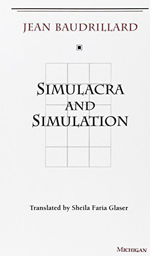 Simulacra and Simulation (The Body, In Theory: Histories of Cultural Materialism) by Jean Baudrillard http://www.amazon.com/dp/0472065211/ref=cm_sw_r_pi_dp_iMvzvb11QA7G5
