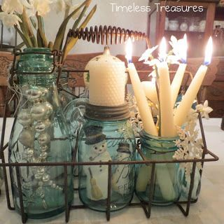 Timeless Treasures : Milk Bottle Tote and Aqua Ball Jars