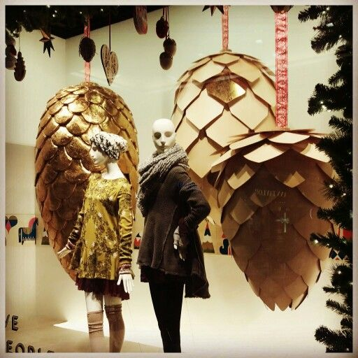 Fascinating paper pine cones at Nordstrom of Fashion Place. Murray, Utah.