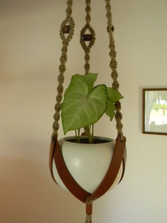 Leather Plant Hanger by TheLuckyTurtle on Etsy