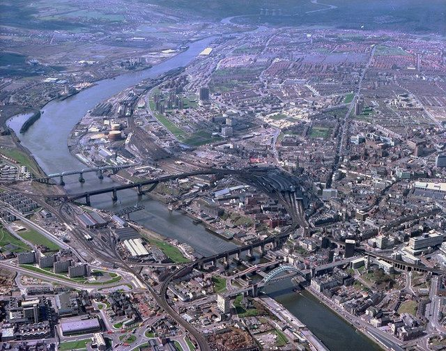 Looking West along the River Tyne, 1978  Aerial view over Newcastle upon Tyne and Gateshead, showing the bridges across the River Tyne, April 1978 (TWAM ref. DT.TUR/4/CN11077L).  Tyne & Wear Archives presents a series of colour aerial photographs of Newcastle upon Tyne. These images were captured by the Newcastle-based photographic firm Turners Ltd during the mid to late 1970s.  From Tyne & Wear Archives, via Flickr