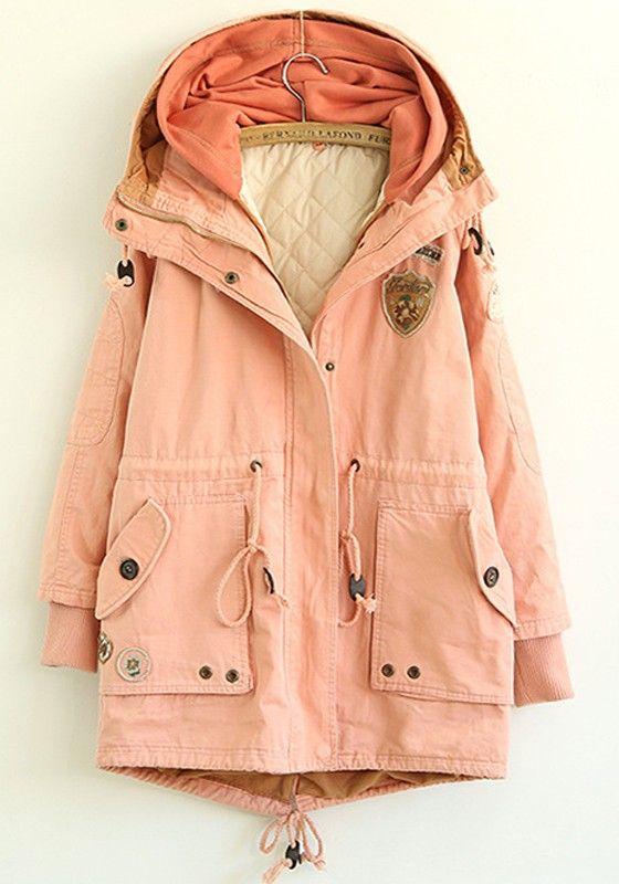 Pink Plain Drawstring Paddad Coat
