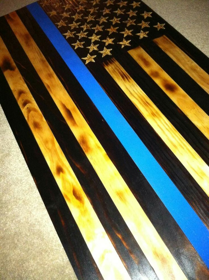 Charred Wood American Flag, Thin Blue Line Police Officer Flag