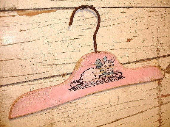 vintage child wood clothes hanger pink with cat by