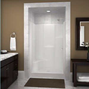 We're switching to a fiberglass shower stall kit because we've had it with leaking tile jobs. Love how this photo dresses this ready-kit up by framing it in and adding tiles at the top!!  | followpics.co