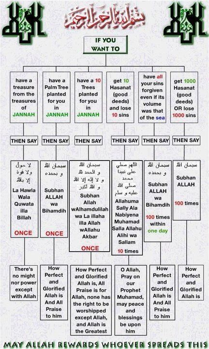 Islamic Duas Cheat Sheet. Learn how to lose sins and gain rewards just by saying a few words of praise for Allah swt.