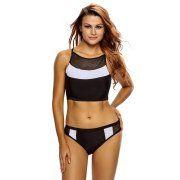 Cali Chic Juniors' Swimsuit Celebrity Netty Insert Black White 2pcs Tankini Swimsuit