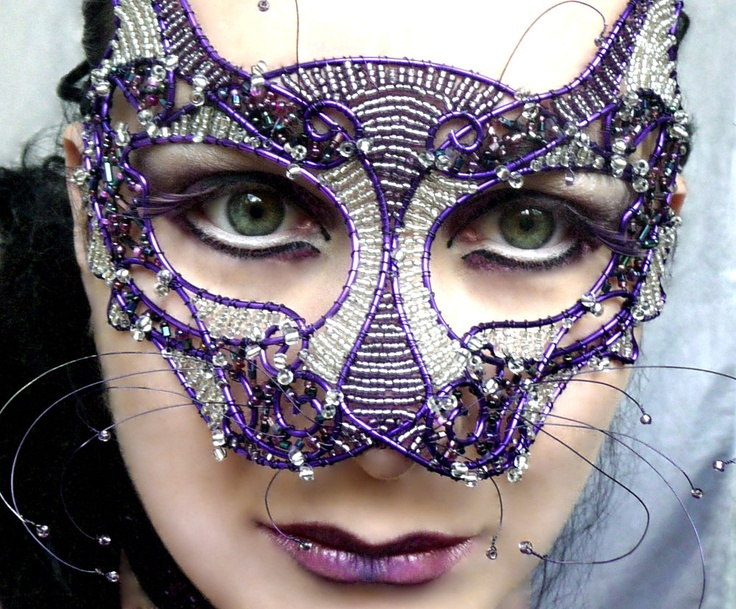 Cat masquerade mask purple ladies handmade by gringrimaceandsqueak : masquerade mask costume ideas  - Germanpascual.Com