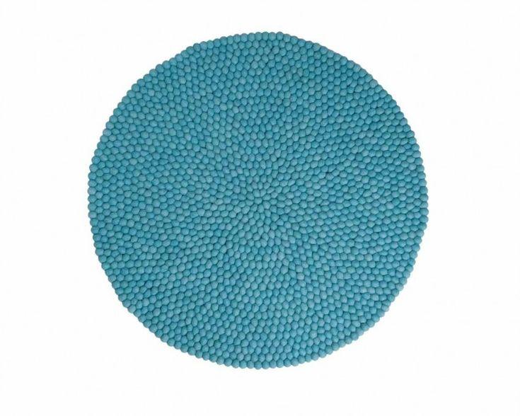 Gefilzt Woll-Kugeln Teppich Türkis Handgefertigt von Frauen Fair Trade