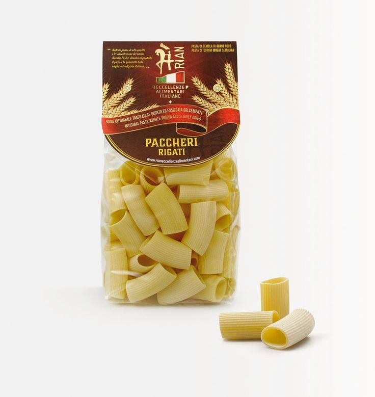 #paccheri, #pasta di gragnano, ed il suo nuovo #packaging. Progetto per la nuova linea di prodotti @Rian eccellenze alimentari italiane, realizzato dallo #studio grafico @Lagartixa Design
