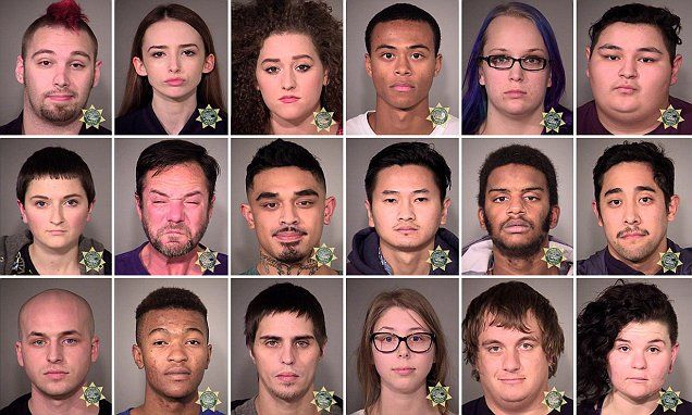 PICTURED:The 71 people arrested during anti-Trump protests in Portland #DailyMail