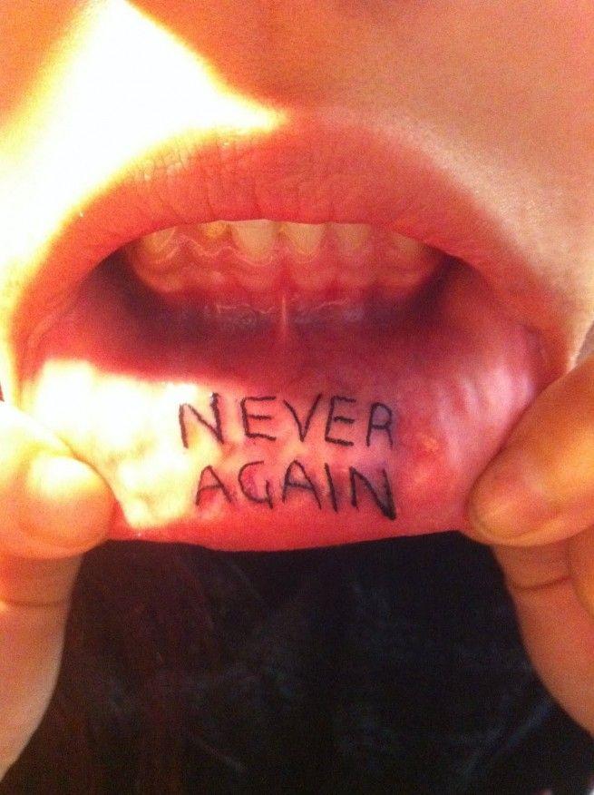 Inner lip tattoo never again luscious lips i love muah for Love lipstick tattoo