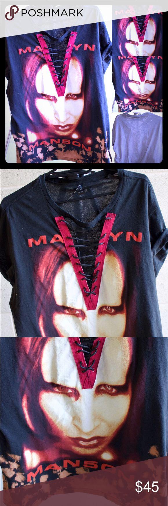 Marilyn Manson rock band lace up Marilyn Manson rock band tee  Tags: Yeezy, yeezus, baby yeezy, baby yeezus, band shirts, yeezy season 3, Fear of God , Kylie lip kit, Guns N' Roses, ,pantera, Slayer, the Beatles , kiss, Rolling Stones, bape, ape, Jordan, supreme, Kylie #fog #madon Tops Tees - Short Sleeve