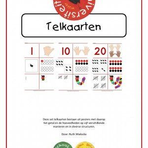 Telkaarten Deze set telkaarten (0 t/m 20) bestaan uit posters met daarop het getal en de hoeveelheden op vijf verschillende manieren en in diverse structuren.