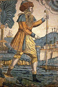 Portrait du Juif Errant  XVIIIe siècle Bois de bout colorié à la main sur papier vergé