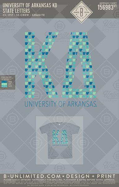 University of Arkansas KD State Letters #BUnlimited #BUonYOU #CustomGreekApparel #GreekTShirts #Fraternity #Sorority #GreekLife #TShirts #Tanks #TShirtIdeas #KappaDelta #KD #PR #SpringBreak #Arkansas #StatePride #BidDay #GreekLetters