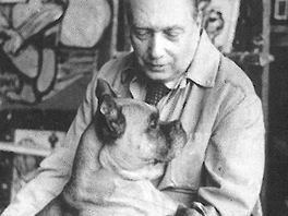EMIL FILLA (1882-1953) with boxer dog in atelier, Prague 1949  Emil Filla v ateliéru se psem, Praha 1949