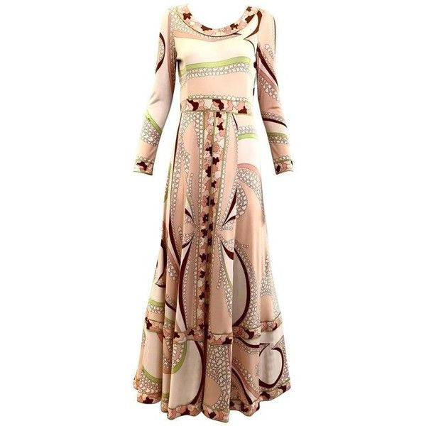 Preowned 70s Bessie Peach And Brown Print Matte Jersey Maxi Dress ($750) ❤ liked on Polyvore featuring dresses, brown, maxi dresses, dot print dress, sleeved dresses, matte jersey dress, peach maxi dress and pattern dress