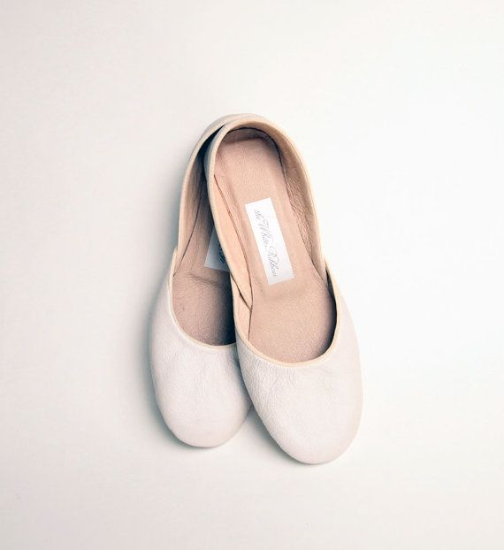 NEW Soft Leather Ballet Flats Ivory Narrow by thewhiteribbon, $65.00