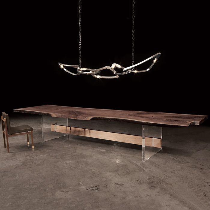 "Dining Tables Hommes SIngle Slab walnut top Plexi Legs with Bronze Stretcher Size shown approx: 14' 6"" L x 42-46"" W x 30"" H"