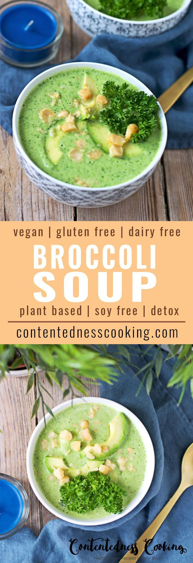 My new Detox Broccoli Soup is a great cleansing recipe. With only 2 ingredients plus optional toppings, this Broccoli Soup is done within minutes and you can enjoy a nourishing and healthy soup. This easy soup recipe is a great way to eat more veggies and greens in your nutrition.