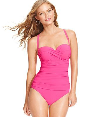 Profile by Gottex Bandeau D-Cup One-Piece Swimsuit also in aqua & black...