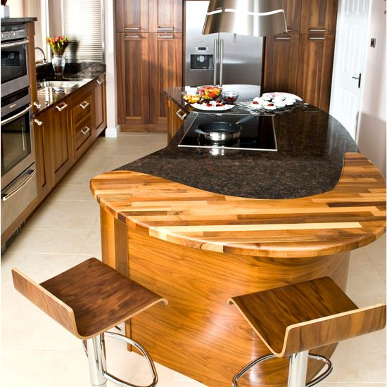 Interesting wooden insert in this curved island bench we for Curved kitchen island