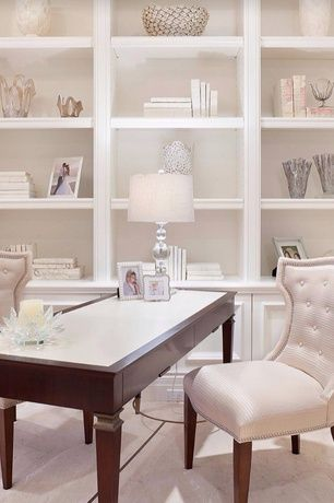 Light and bright with wall of shelves
