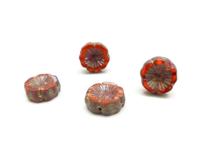 4 Perles Fleurs hawaïennes en verre tchèque rouges - 14 mm - : Perles en Verre par lulu-perles