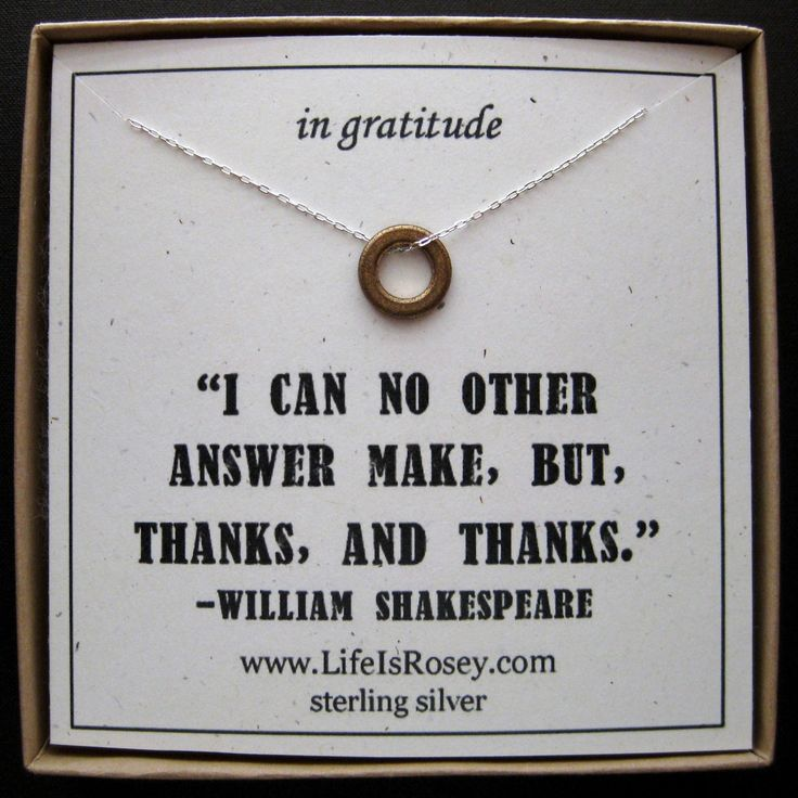 Thank you Quote Card - Sterling Silver Necklace - A Life is Rosey Original. $28.00, via Etsy.