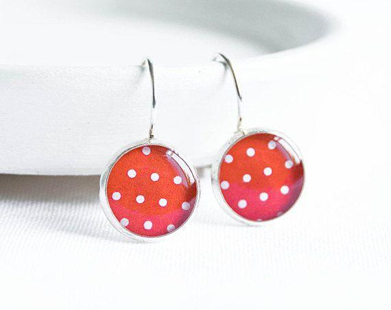 Red earrings, white red polka dot, summer jewelry, bright earrings via Etsy