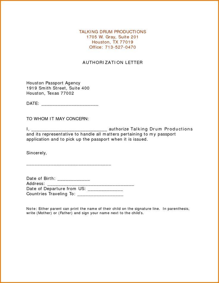 Authorization Letter For Passport Pickup Pdf Receive Ledger Paper