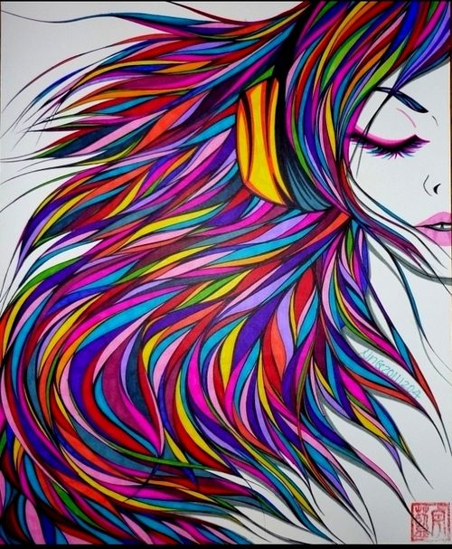 naked girl colorful drawings