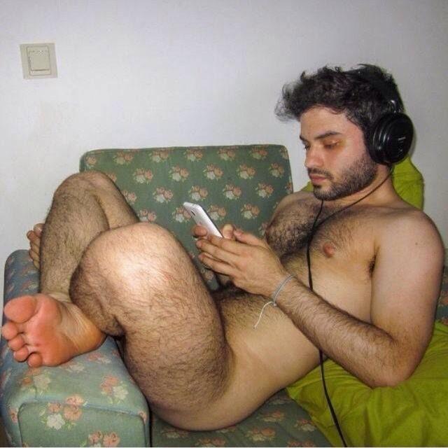 Hairy man masturbating