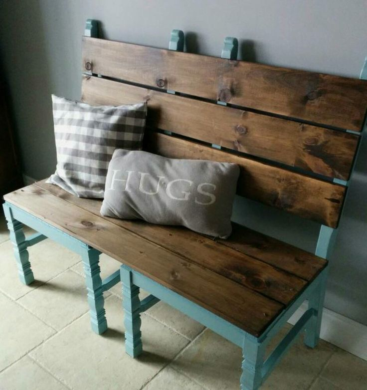 Recycle 2 chairs to make a bench!