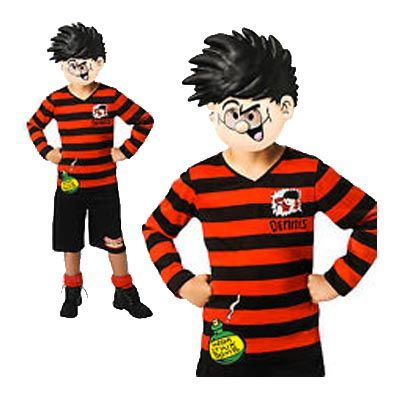 This Child Comic Book Dennis the Menace Costume is a three piece Costume featuring his famous red and black long-sleeved top with various printed