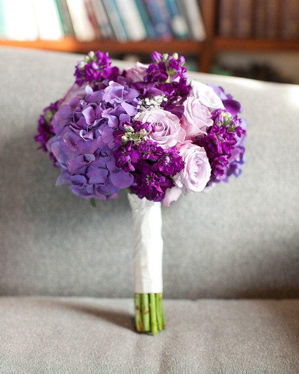 Bridesmaids Bouquet idea - white hydrangea, purple stock and lavender rose