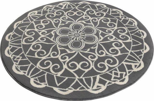 Teppich Mandala 1 Rund Hohe 9 Mm Kurzflor Teppich