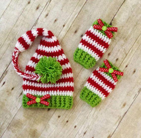 Crochet Baby Christmas Striped Elf Stocking Hat and Legwarmers Set