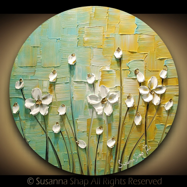 ORIGINAL Contemporary White Daisy Flowers Painting Abstract Textured Modern Art by Susanna. $165.00, via Etsy.
