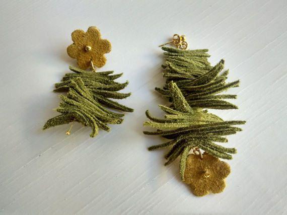 Flower earrings-leather jewelry-Women by SkinToSkinCreations