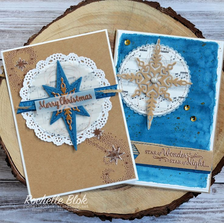 Christmas cards using Stampin Up Star of Light from 2016 Holiday Catalogue…