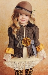 "Persnickety Brown Tiny Plaid ""Stella"" Jacket with Contrast Ruffles  Sizes 2T - 12      $86.50"