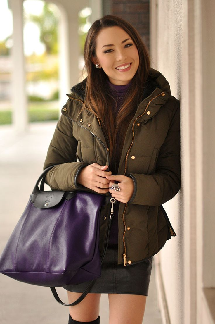 Longchamp Custom Le Pliage Bag, Zara Olive Puffer Jacket, Purple Turtleneck [Steal,