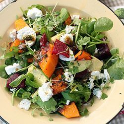 Roasted butternut, beetroot and avocado salad, perfect with a wonderful roasted garlic and herb dressing!