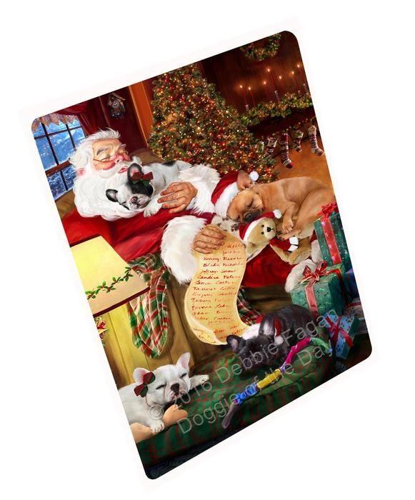 French Bulldog Dog Sleeping with Santa Woven Throw Sherpa Fleece Blanket NWT