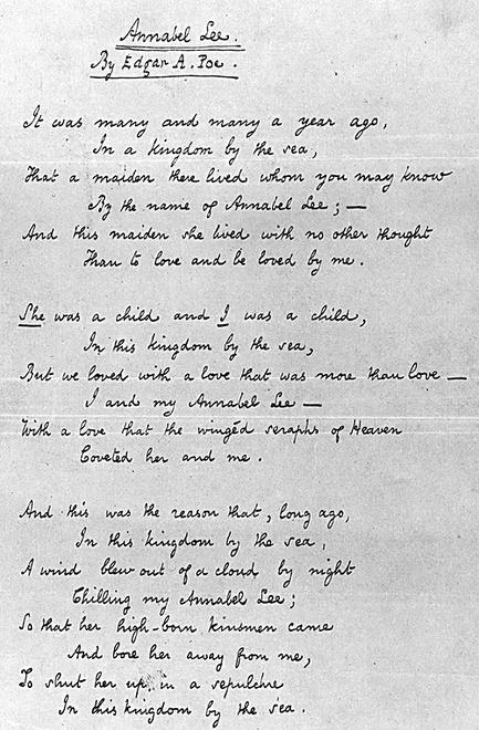 Poema Annabel Lee de Edgar Allan Poe, escrito en 1849.
