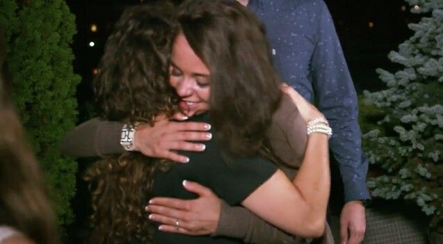Michelle Hugging her daughter Jinger after she said yes to Jeremy proposal